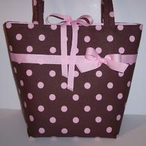 Jeanniebags Diaper Bag Tote Pink Brown Polkadots Fabric Photo