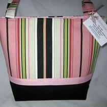 Jeanniebags Pink Lime Black Terrace Stripe Fabric Tote Diaper Bag Photo