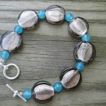 Jet Glass Silver Foil and Sapphire Bead Bracelet Photo