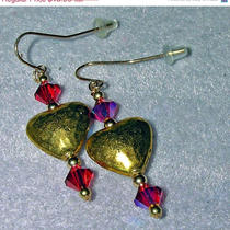 Jewelry on Sale Now Gold Hannered Heart Swarovski Crystal Dangle Earrings Photo