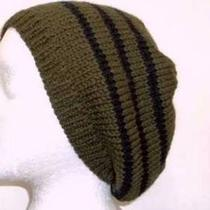 Knit Beanie Beret Wool Black Stripe Slouch Hat Olive Green Photo
