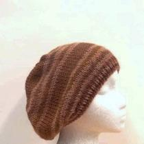 Knit Beanie Shades of Tan and Brown Slouch Beret Photo