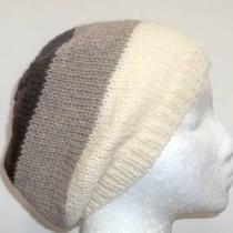 Knit Beanie Slouch Hat White/tan/brown Stripe Wool Beret Hat Photo
