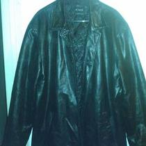 Kymo German Made Black Leather Coat Size 56 Xxl in Great Condition Photo