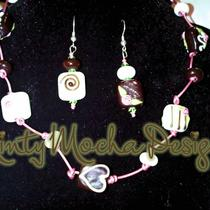 Lampwork Chocolate Beads on Pink Leather Cord Necklace Earrings Set Photo