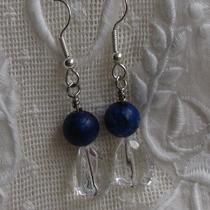 Lapis Blue With Clear Chunk Earrings Photo