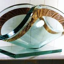 Large glass bowl 14 karat design by Robert Gunther Photo