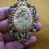 Large Roman Woman With Roses Rose Flowers Cameo Brass Pin Pendant Brooch Jewelry Cm33-13 Photo