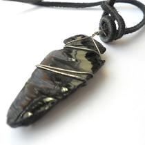Leather Necklace W Hand Carved Obsidian Native American Arrowhead Photo