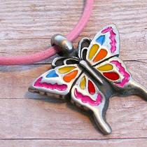 Leather Necklace With Enameled Butterfly Pendant Photo