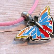 Leather Necklace With Multicolor Butterfly Pendant Photo