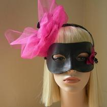 Leather Orchid and Tulle Fascinator With Detachable Leather Harlequin Mask Photo