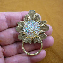 Lemon Yellow Iridescent Flower Starburst Czech Glass Button Leaf Repro Victorian Brass Eyeglass Pin Pendant Id Badge Holder E-786 Photo