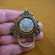 Lemon Yellow Iridescent Flower Starburst Czech Glass Button Repro Victorian Brass Eyeglass Pin Pendant Id Badge Holder E-785 Photo