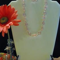 Light Pink and Silver Necklace and Earring Set Photo