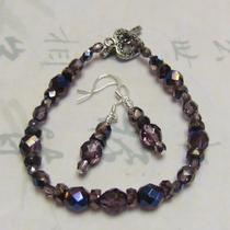 Lilac Blue Fire-Polished Bracelet & Earring Set Photo