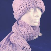Lilac Lace-Trimmed Crocheted Hat and Scarf Set Photo