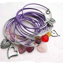 Lilac Leather Bangles With Silver Plated Mixed Hearts Photo