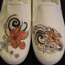 Lily and Stars Tattoo Inspired Custom Designed Shoes Photo