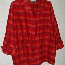 Liz &ampamp Me Plaid Silk Blouse Sz 3x Photo