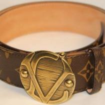 Louis Vuitton Brown Monogram 90-36 Small Medium Unisex Belt with LV Buckle NWT Photo