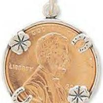 Lucky Penny Holder Charm in Genuine .925 Sterling Silver Photo