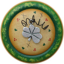 Lucky Shamrock Charm Button Pin Brooch (Hand Painted Wood) Photo