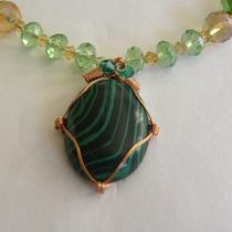 Malachite and Swarovski Crystal Necklace Photo