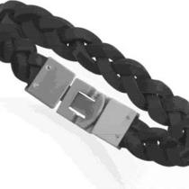 men&amp039s Braided Genuine Black Leather Bracelet With Free U.s. Shipping Photo