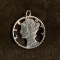 Mercury Dime Cut Coin Pendant Photo