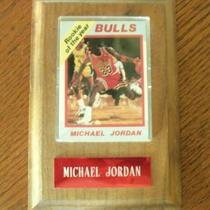 MICHAEL JORDAN ROOKIE OF THE YEAR / RATED ROOKIE CARD WITH WOODEN PLAQUE Photo