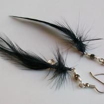 Midnight Elegance Black Feather Earrings - 4.5 Inches Long Photo