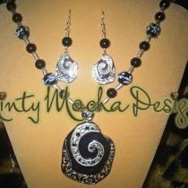 Midnight Swirl Necklace and Earrings Set Photo