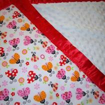 Minky Baby Blanket ULTRA-SOFT with Cute Lady Bugs 3-Layers Thick and a Beautiful Satin Trim Photo