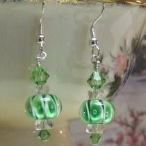 Mint Green Encased Bubble Lampwork Earrings Photo