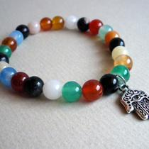 Multi Colored Agate With Hamsa Charm Bracelet Photo