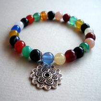 Multi Colored Agate With Mandala Charm Bracelet Photo