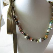 Multi-Colored Stone Chip Necklace With Ribbon Ties Photo