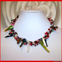 Multi Gemstone &quotconfetti xi&quot 3 Strand Torsade Necklace - Citrine Garnet Ruby Amethyst Pearl Coral Mother of Pearl Etc - Statement Necklace Photo