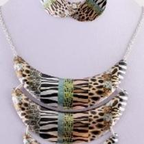 Multi-Layered Crescent Necklace Zebra/ Leopard/ Tiger Necklace & Earring Set Photo