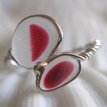 Natural Sea Glass Sterling Silver Ring Rare Maroon Pink Red Multicolor Us 12 3/4 (319) Photo