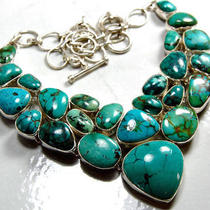 Natural Turquoise Sterling Silver Necklace Photo