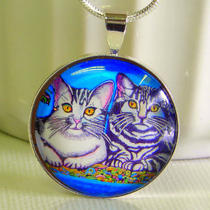 Nature Pets Cats girl&39s Gift - &quottwo kittens&quot - Silvery 1&quot Round Pendant Necklace Photo
