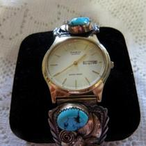 Navajo Men's Silver Gold Turquoise Coral Watch Photo