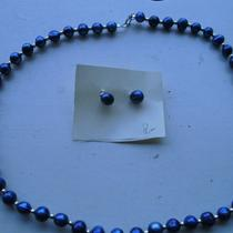 Navy  Pearl Necklace With Earrings Photo