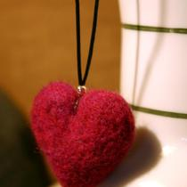 Needle Felted Pink Heart Necklace Photo