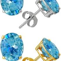 New 2 Carat Blue Topaz Stud Earrings  Photo