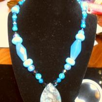 New Agate, Chrysocolla, Turquoise,Crystal and other gemstone necklace Photo