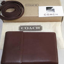 New Authentic Coach Swing Wallet Organizer With Strap - Brown Leather Photo