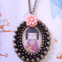 New Collection Lovely Japaness Style Girl Doll Cameo Pendant 24 Inches Necklace With Gift Box Photo